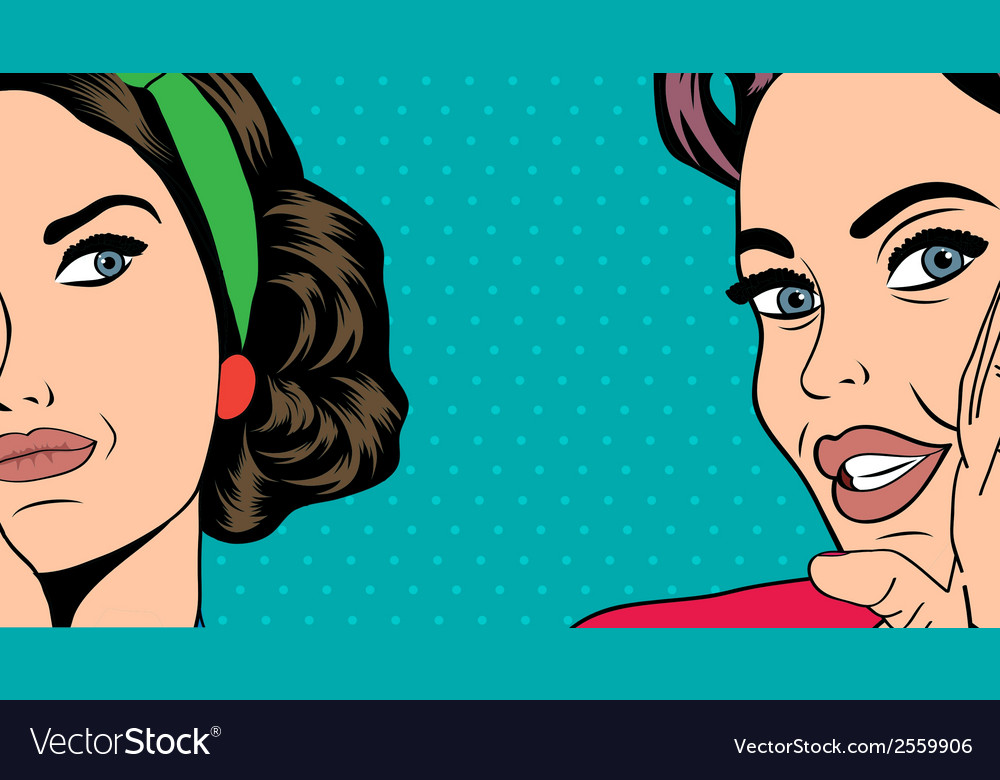 Two pop art girlfriends talking comic art vector | Price: 1 Credit (USD $1)