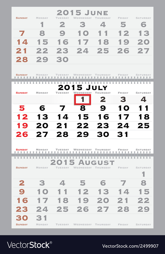 2015 july with red dating mark vector | Price: 1 Credit (USD $1)