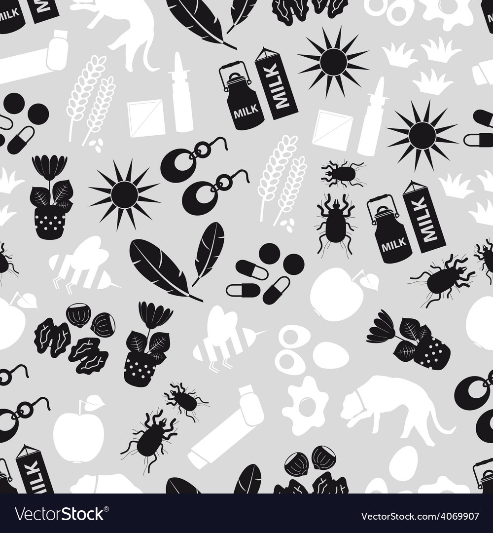 Allergy and allergens gray seamless pattern eps10 vector | Price: 1 Credit (USD $1)