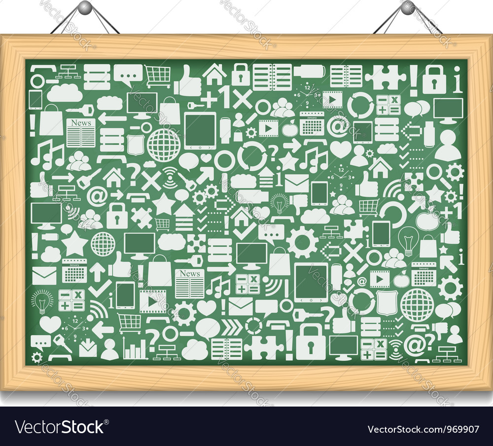 Blackboard with different education icons vector | Price: 1 Credit (USD $1)