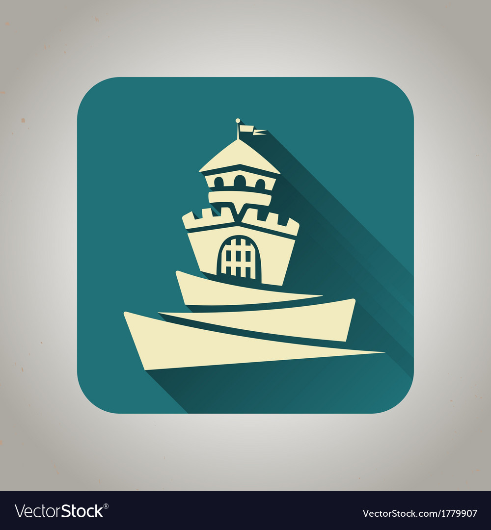 Blue flat icon with castle for web and mobile vector | Price: 1 Credit (USD $1)