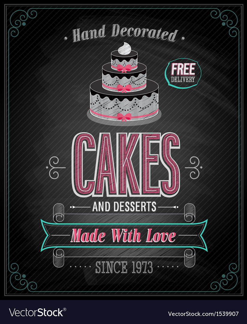 Cake chalkboard vector | Price: 1 Credit (USD $1)