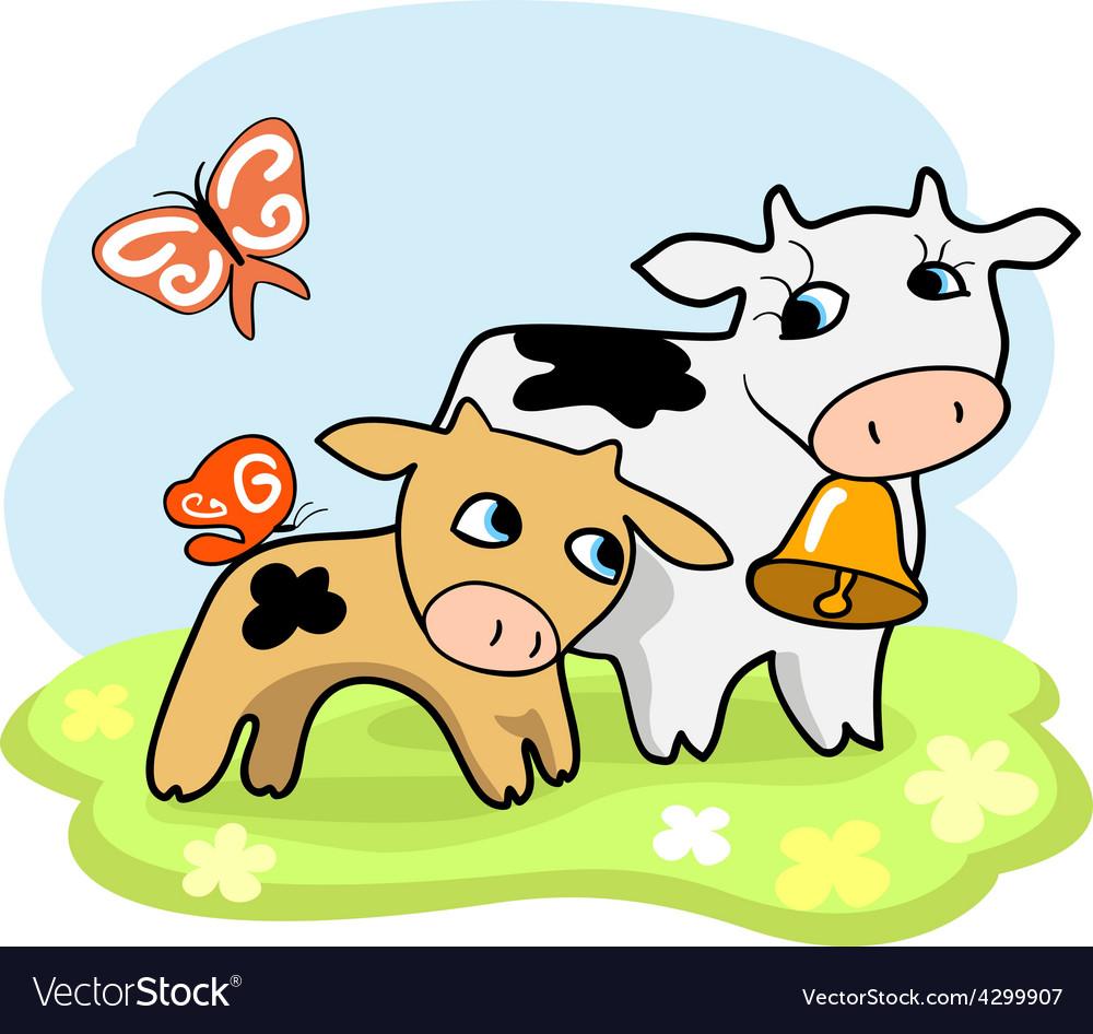 Cute cartoon cows vector | Price: 1 Credit (USD $1)