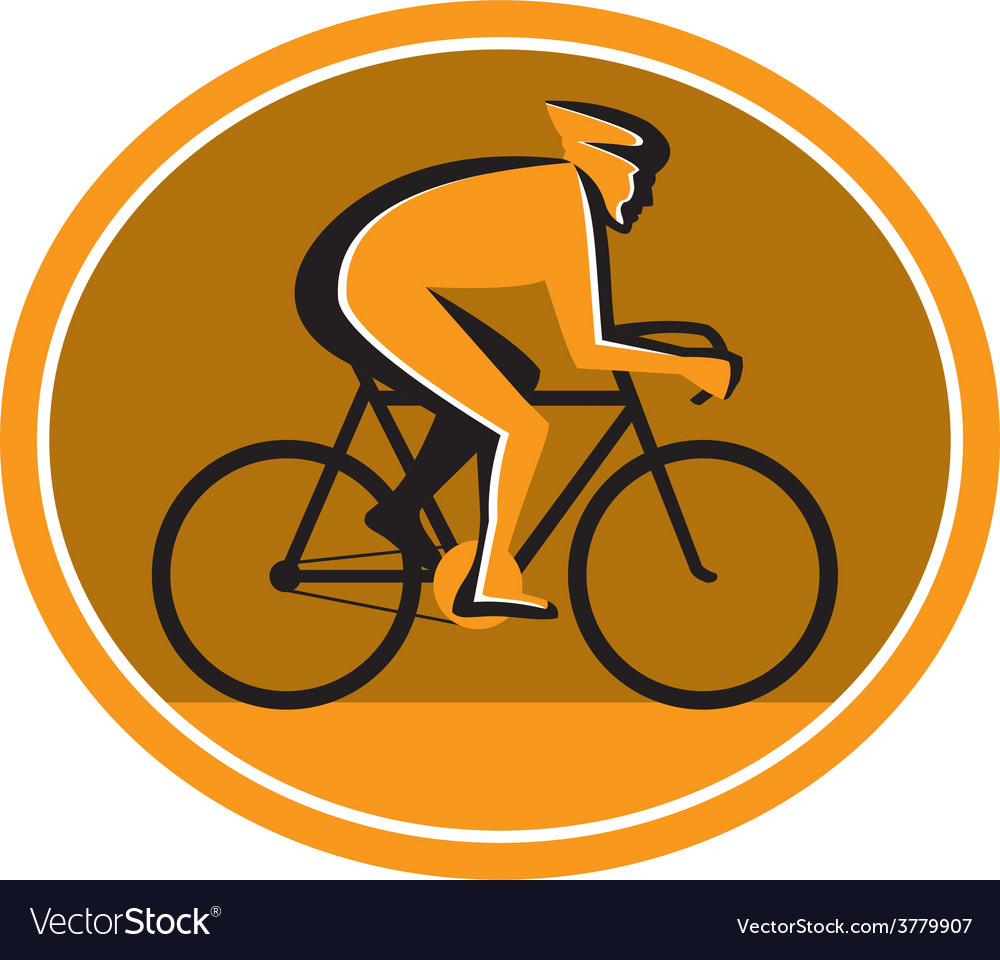 Cyclist riding bicycle cycling racing circle retro vector | Price: 1 Credit (USD $1)