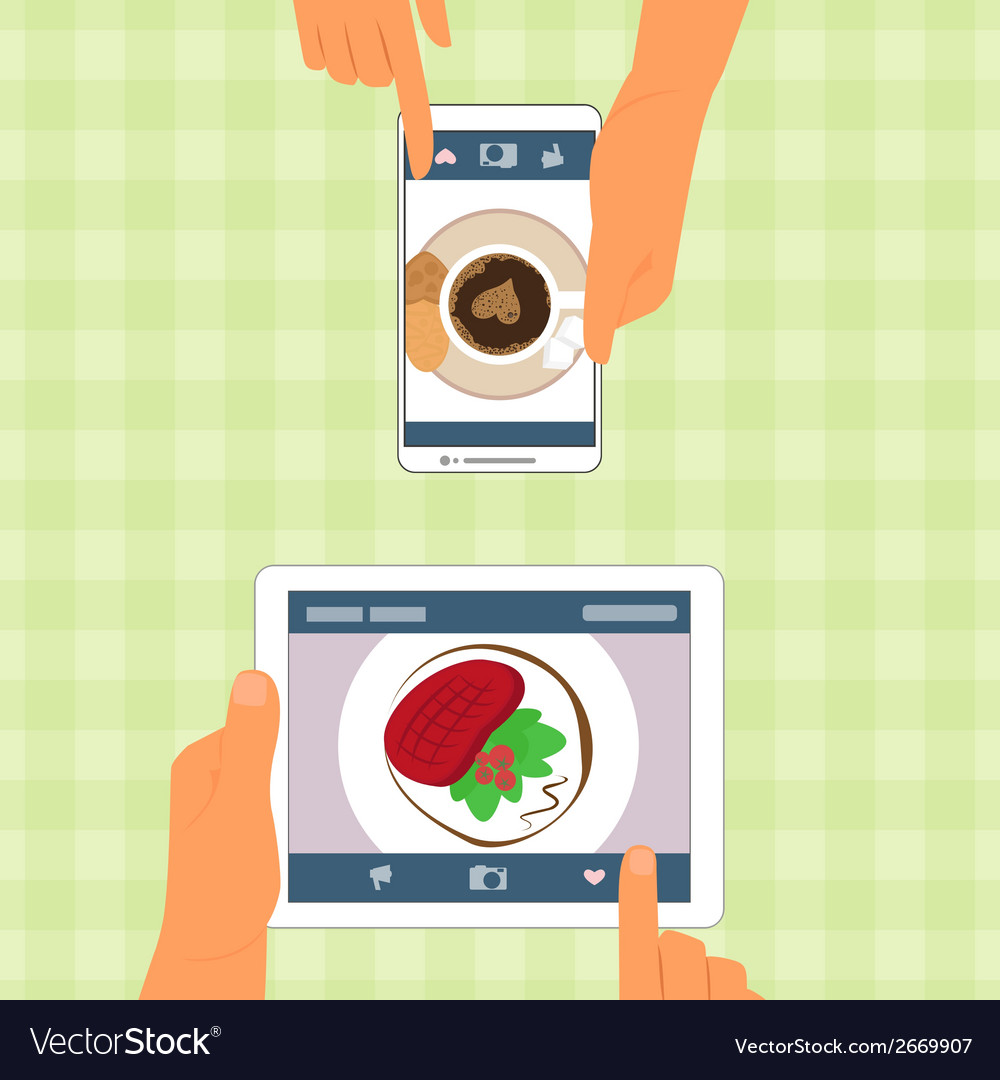 Man and woman and their food placed on gadgets vector | Price: 1 Credit (USD $1)