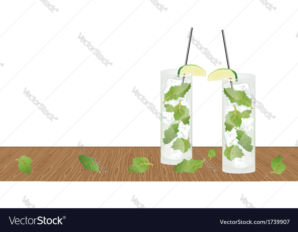 Mojito drink cocktail on the table vector | Price: 1 Credit (USD $1)