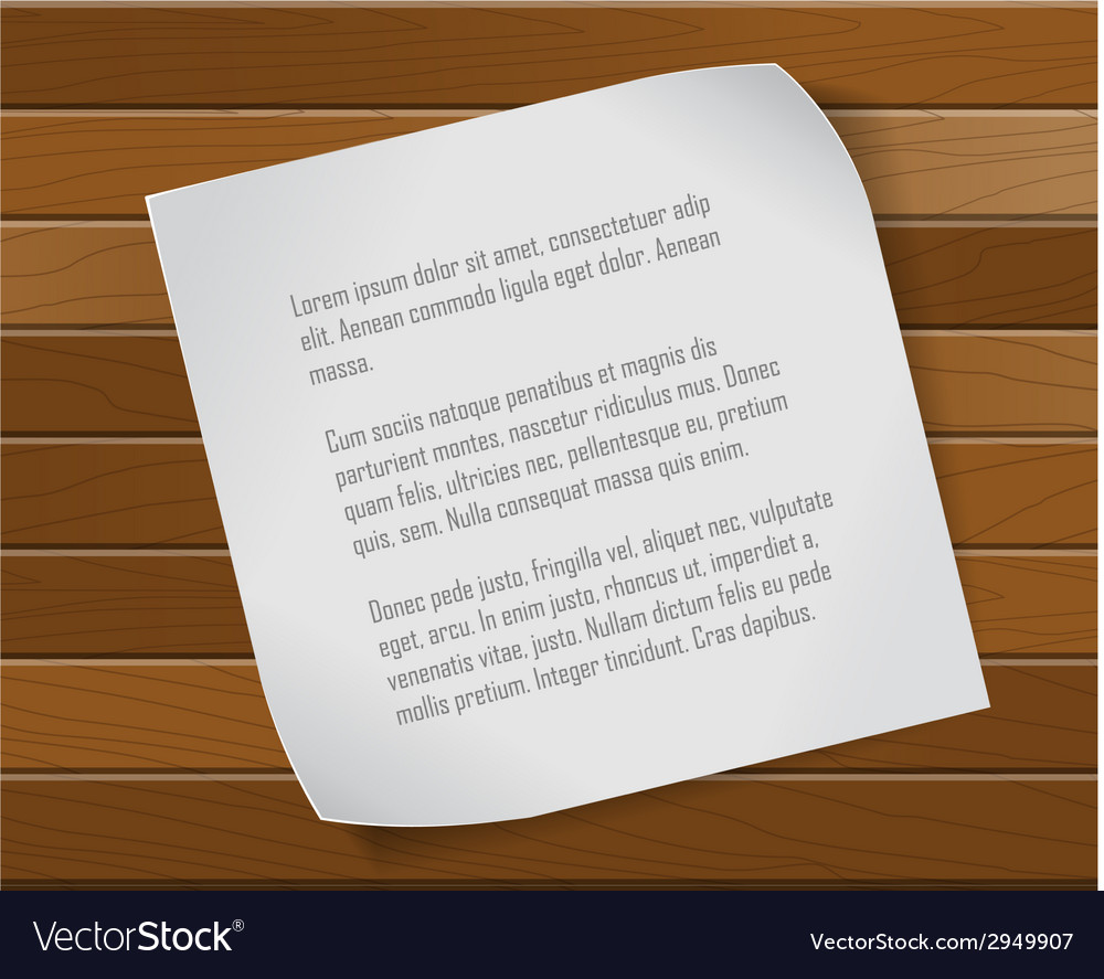 Paper sheet over wooden background vector | Price: 1 Credit (USD $1)
