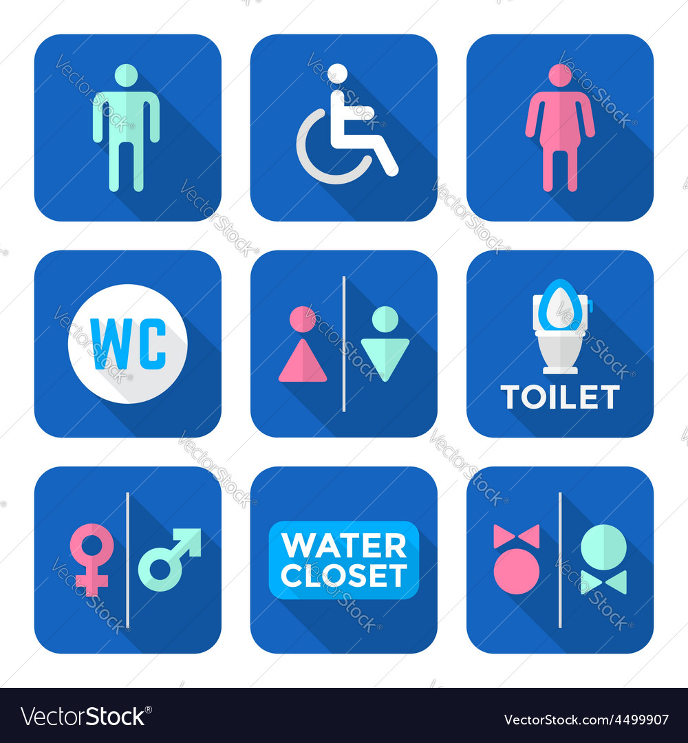Various colorful flat style water closet signs vector | Price: 1 Credit (USD $1)