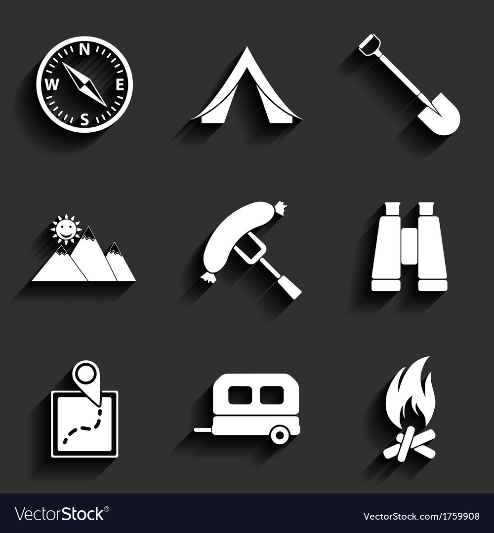 Camping flat icons set vector | Price: 1 Credit (USD $1)