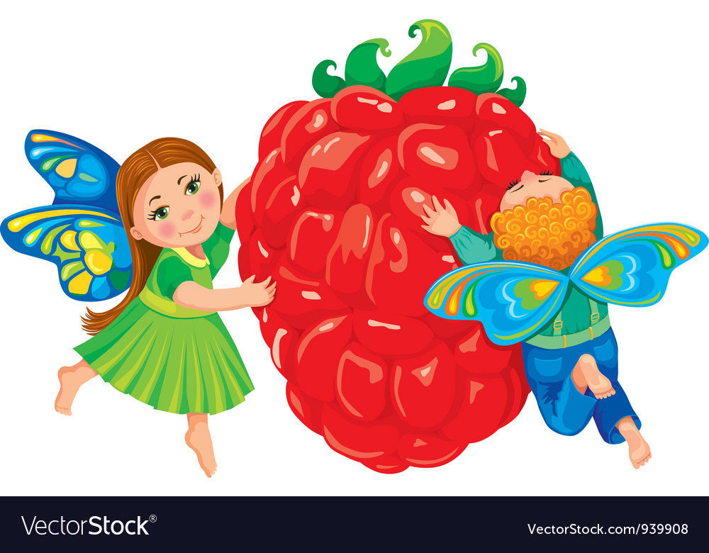 Children hold red raspberries vector | Price: 3 Credit (USD $3)