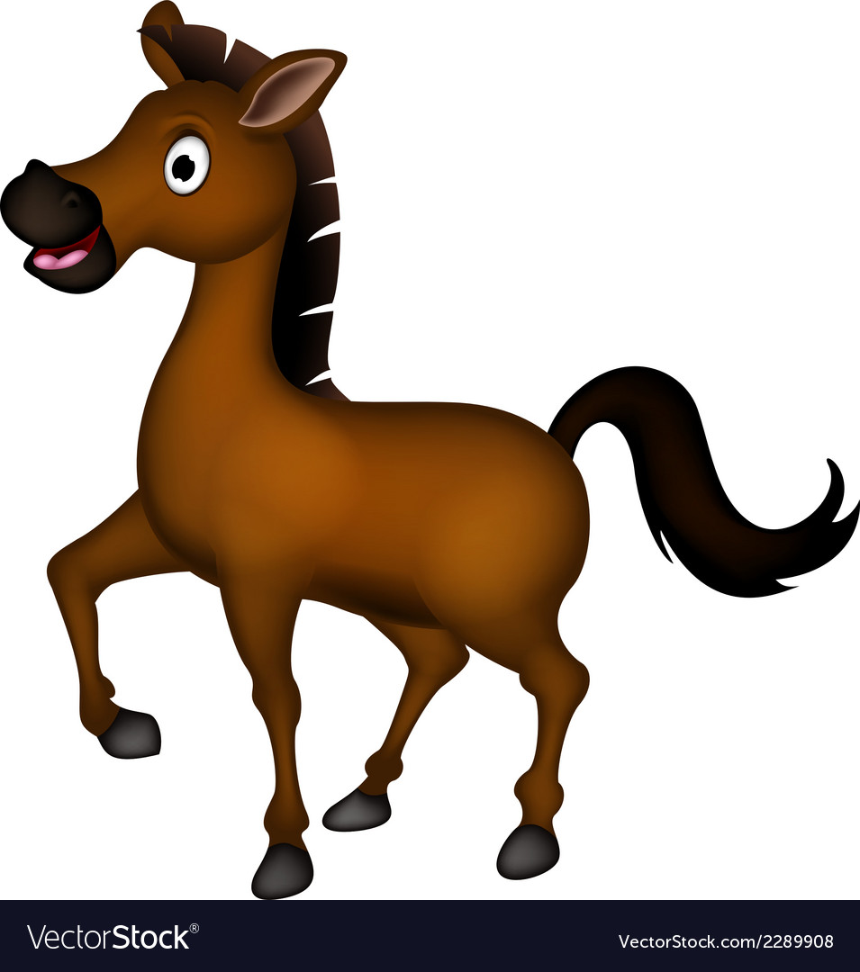 Cute brown horse cartoon vector | Price: 1 Credit (USD $1)