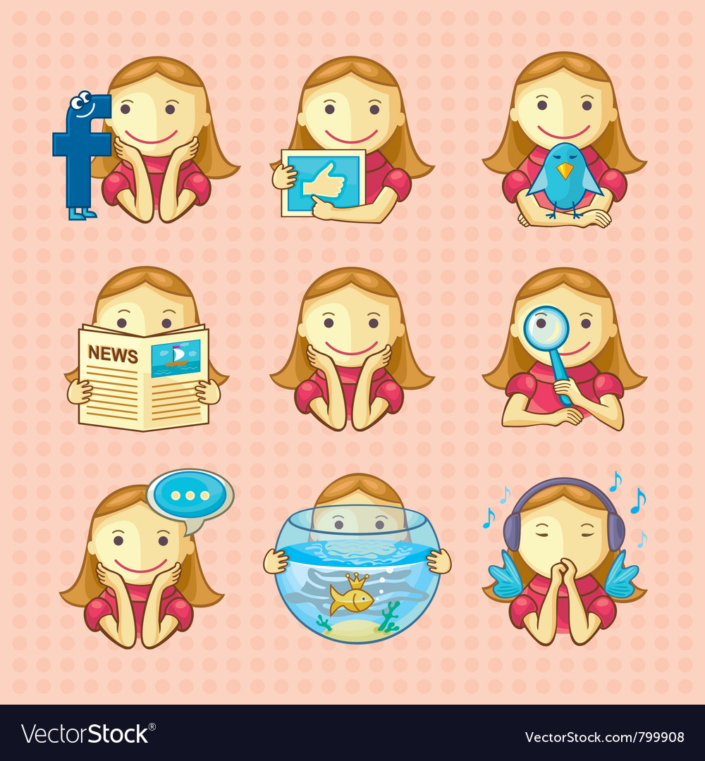 Design elements set of social icons vector | Price:  Credit (USD $)