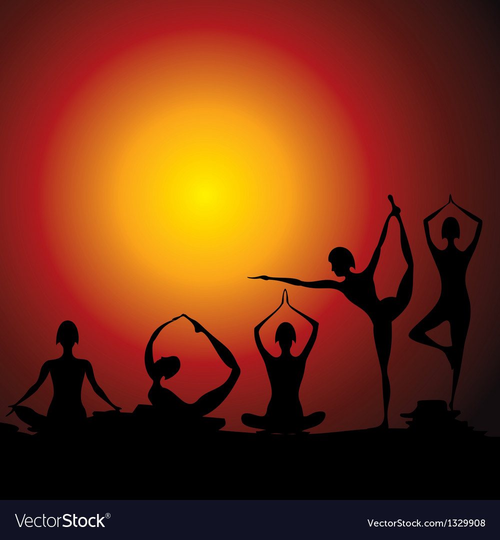 Different yoga women figure vector | Price: 1 Credit (USD $1)