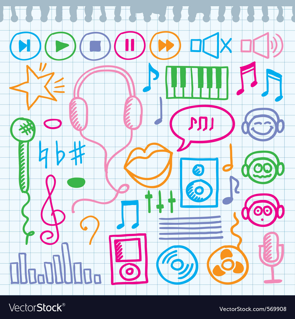 Doodle music signs vector | Price: 1 Credit (USD $1)