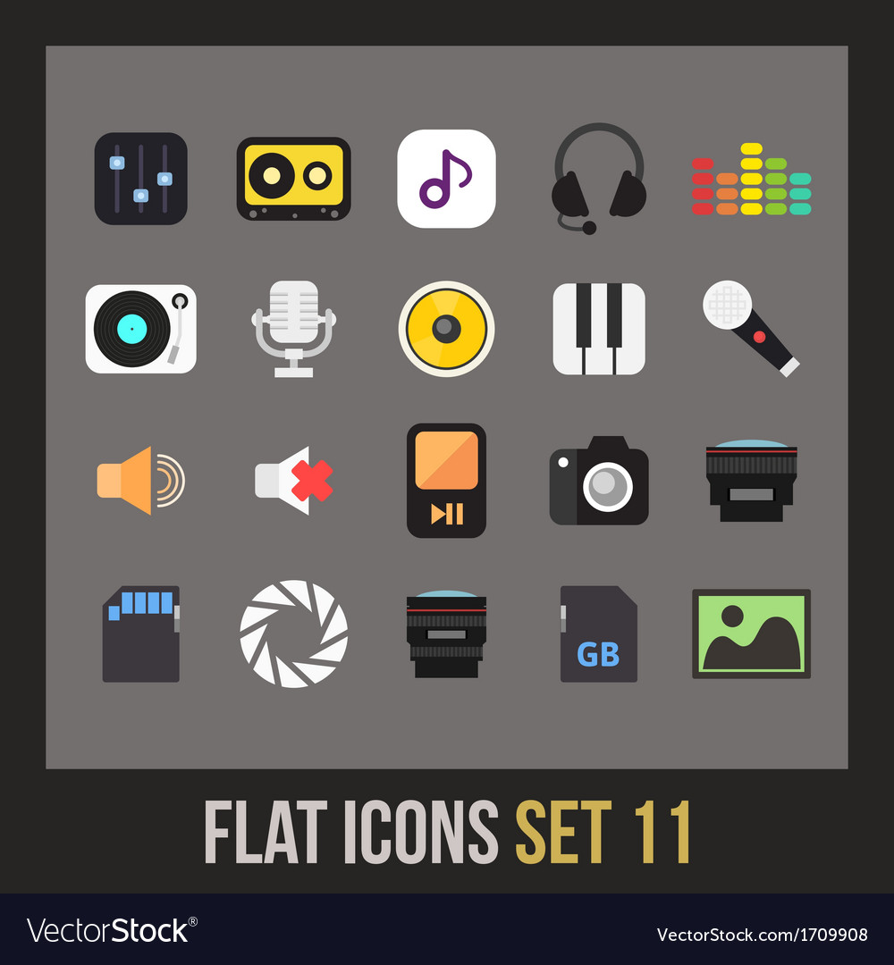 Flat icons set 11 vector | Price: 1 Credit (USD $1)
