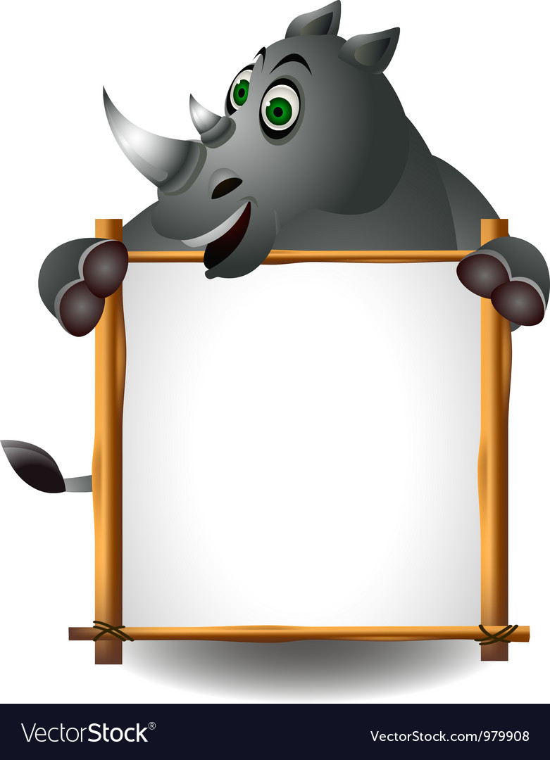 Funny rhino cartoon with blank sign vector | Price: 3 Credit (USD $3)