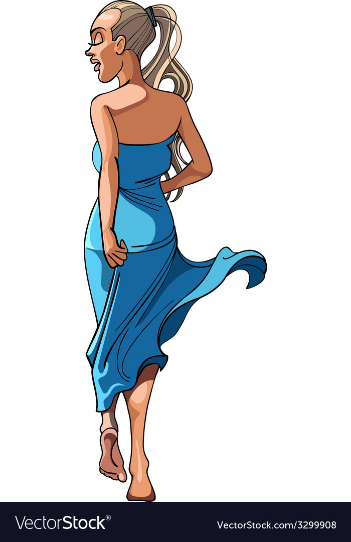 Girl in a blue long dress dancing rear view vector | Price: 1 Credit (USD $1)