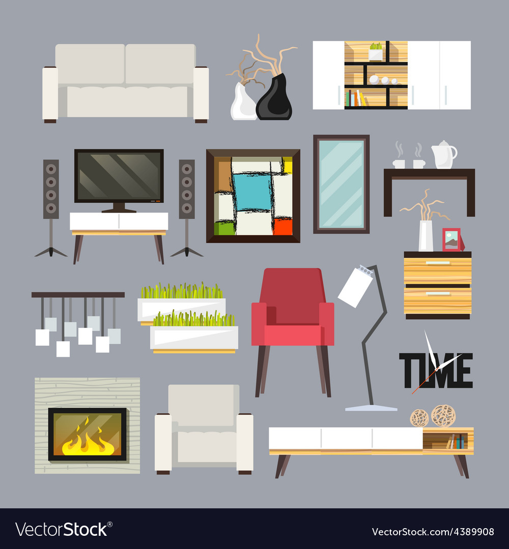 Living room furniture set vector | Price: 1 Credit (USD $1)