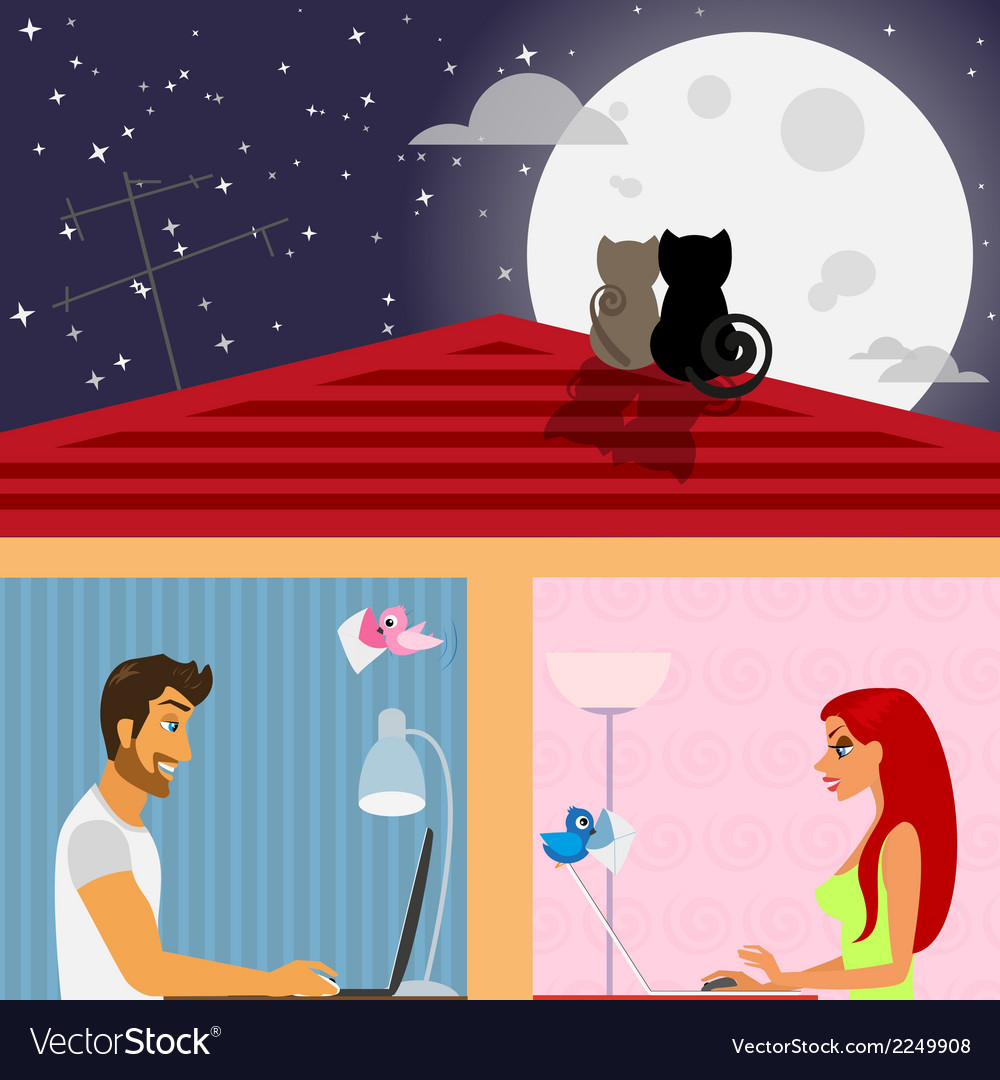 Man and woman in social networking vector | Price: 1 Credit (USD $1)