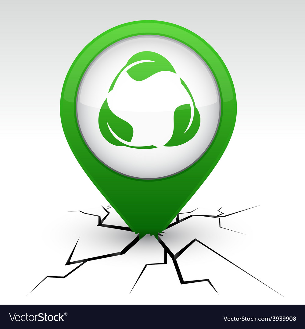 Recycle green icon in crack vector | Price: 1 Credit (USD $1)