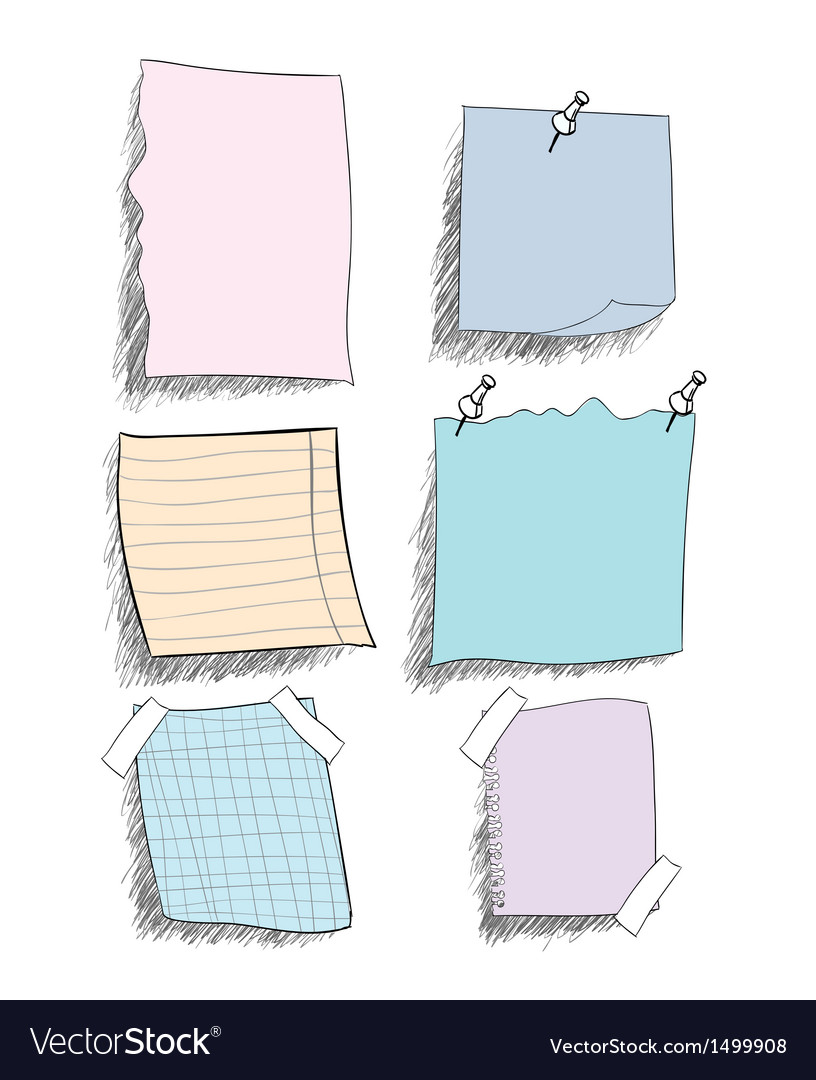 Set of sketchy coloured paper notes with pin eps vector | Price: 1 Credit (USD $1)