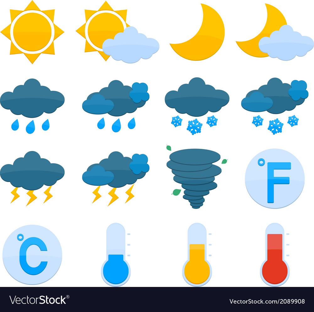 Weather forecast icons set vector | Price: 1 Credit (USD $1)