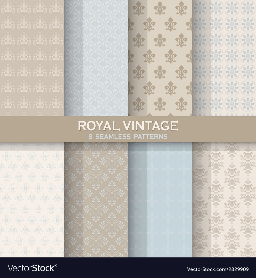 8 seamless patterns - royal vintage set vector | Price: 1 Credit (USD $1)