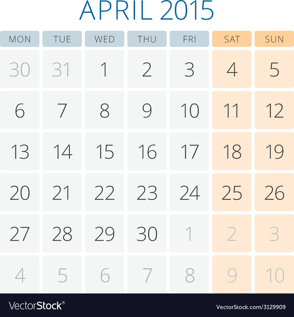 Calendar 2015 april design template vector | Price: 1 Credit (USD $1)