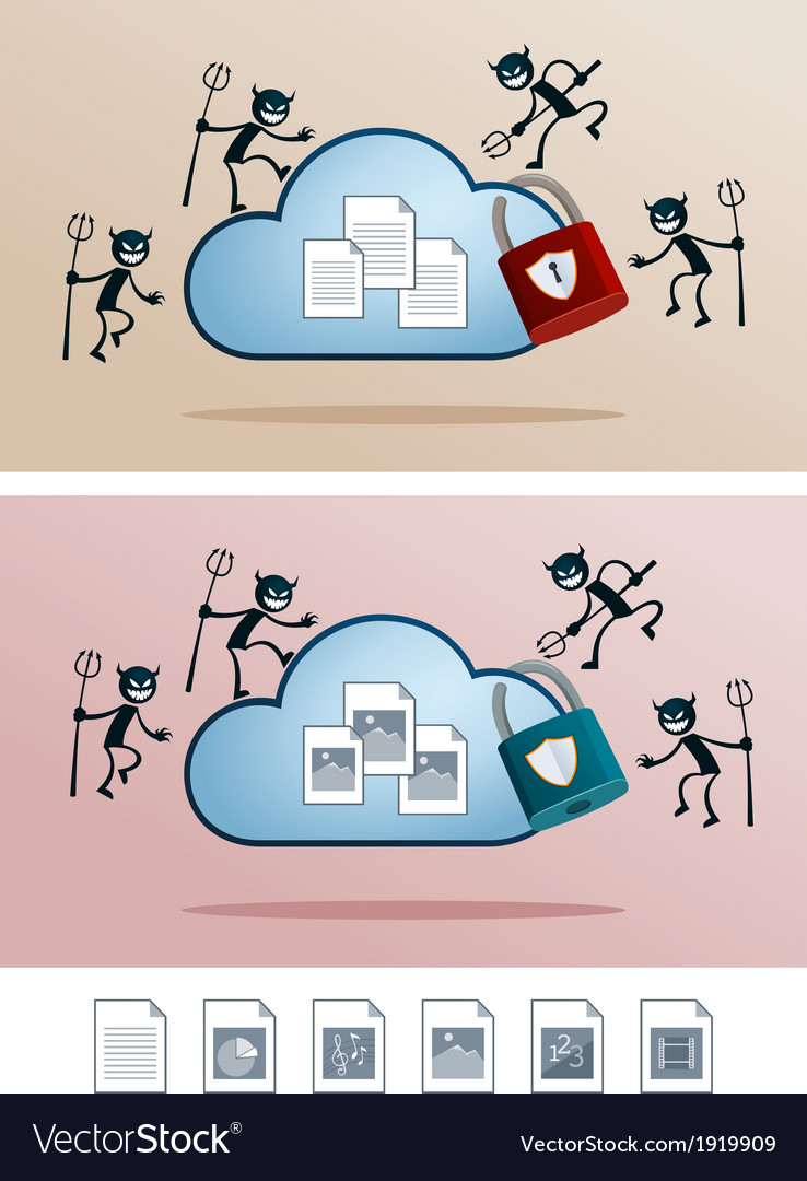 Cloud storage attacked by computer virus vector | Price: 1 Credit (USD $1)