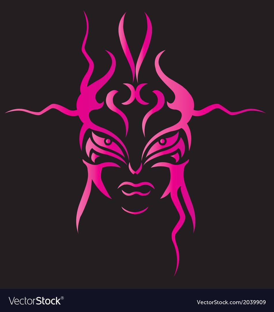 Face devil tribal for back on white backgr vector | Price: 1 Credit (USD $1)