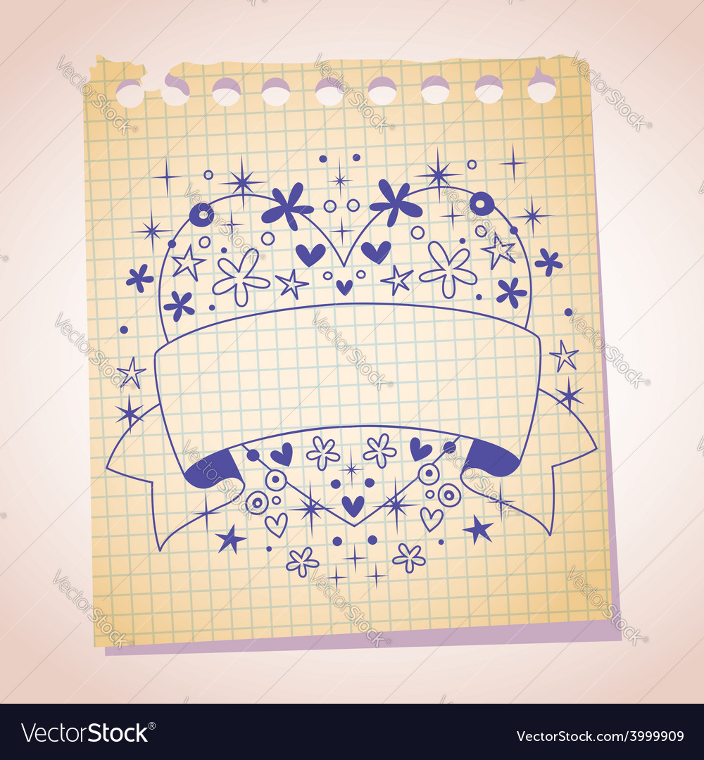 Heart frame blank banner note paper cartoon sketch vector | Price: 1 Credit (USD $1)