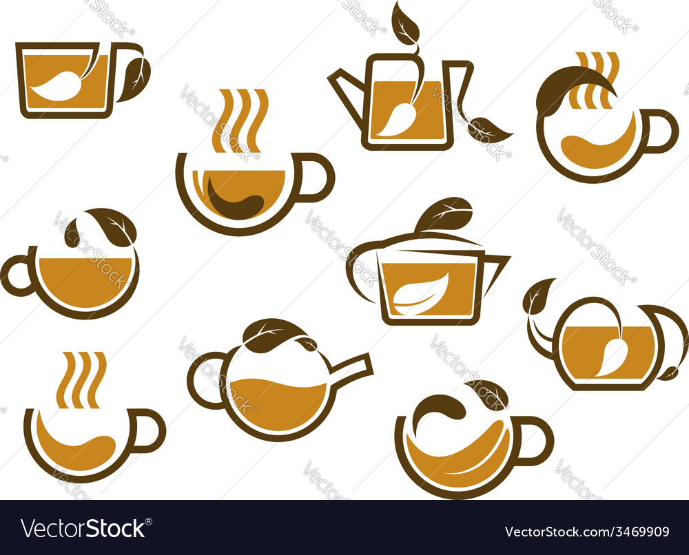 Herbal tea cups and pots icons vector   Price: 1 Credit (USD $1)