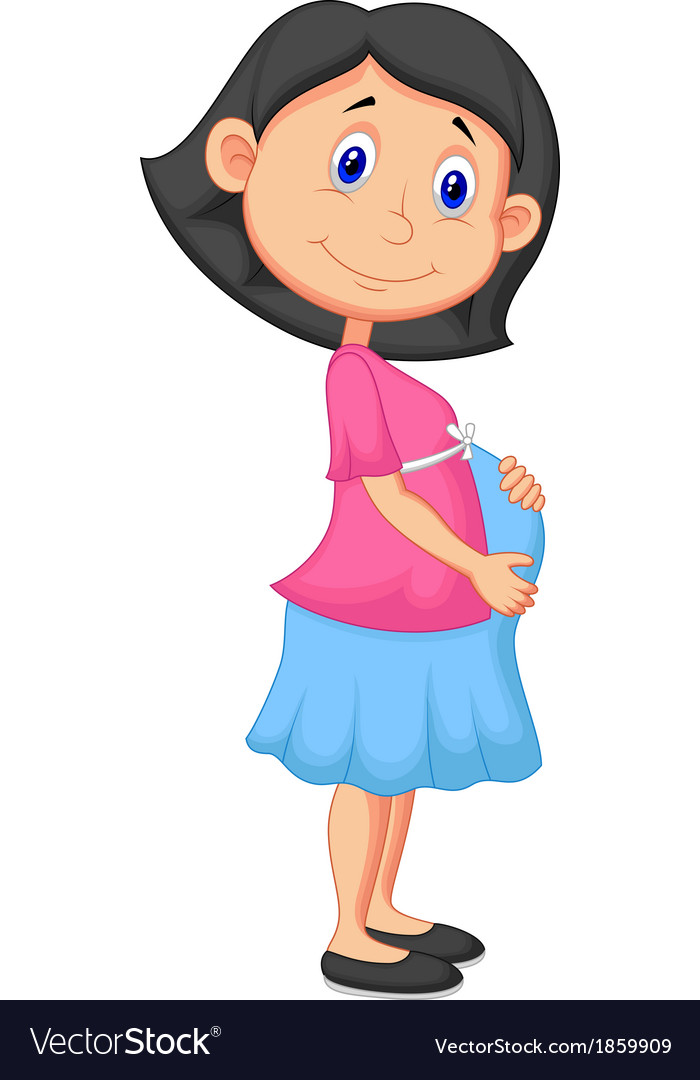 Pregnant woman cartoon vector | Price: 1 Credit (USD $1)