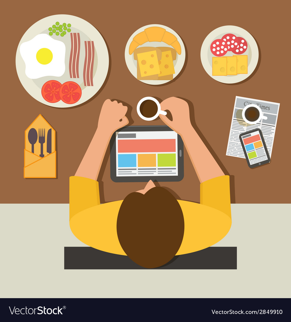 Breakfast time office man reading news on tablet vector | Price: 1 Credit (USD $1)