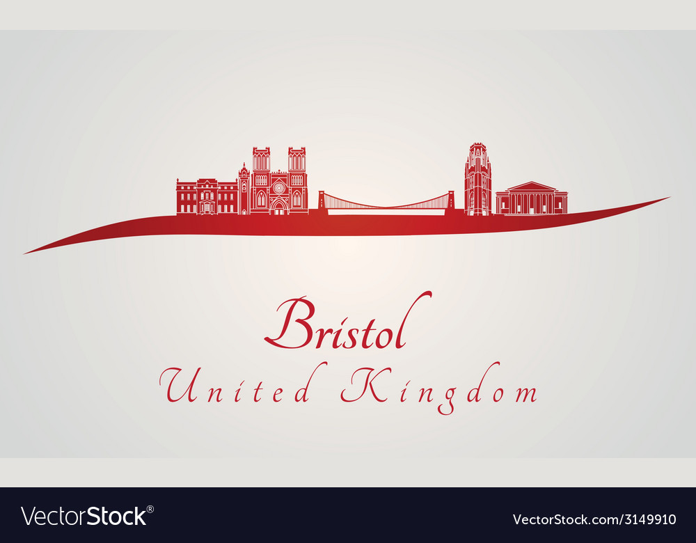 Bristol skyline in red vector | Price: 1 Credit (USD $1)