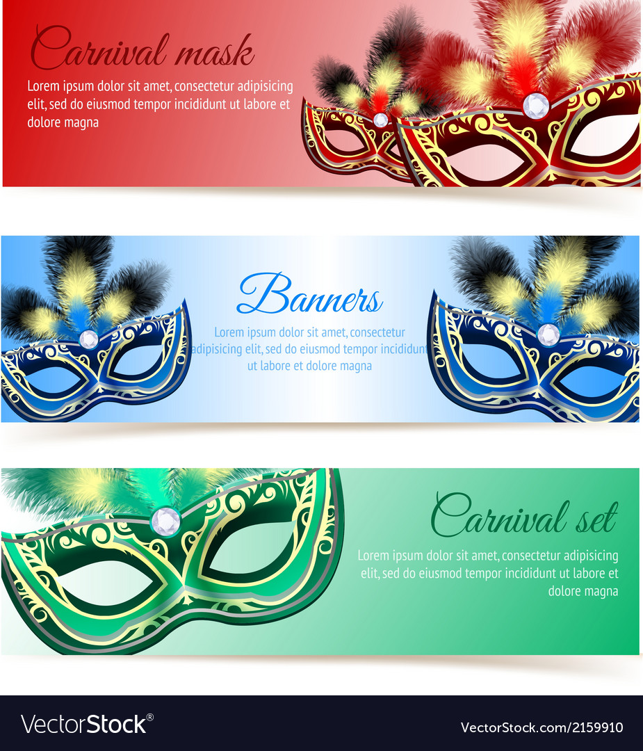 Carnival mask banners vector | Price: 1 Credit (USD $1)