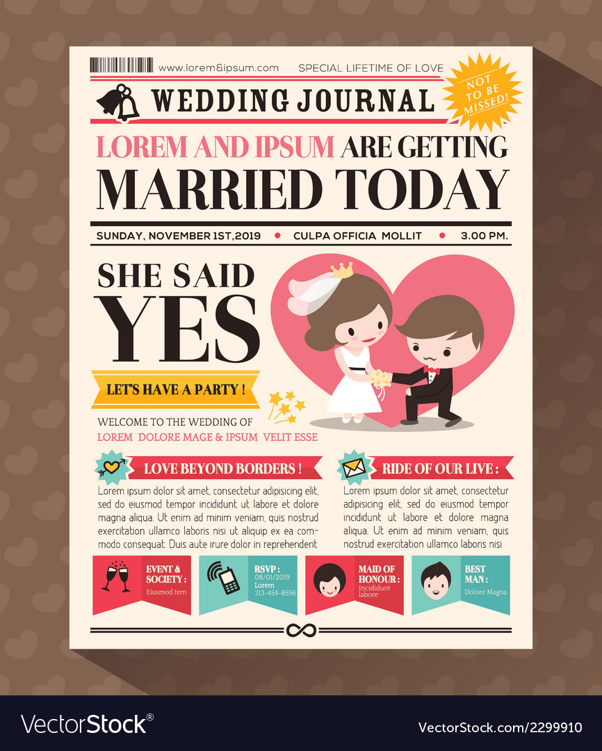 Cartoon newspaper journal wedding invitation vector | Price: 1 Credit (USD $1)