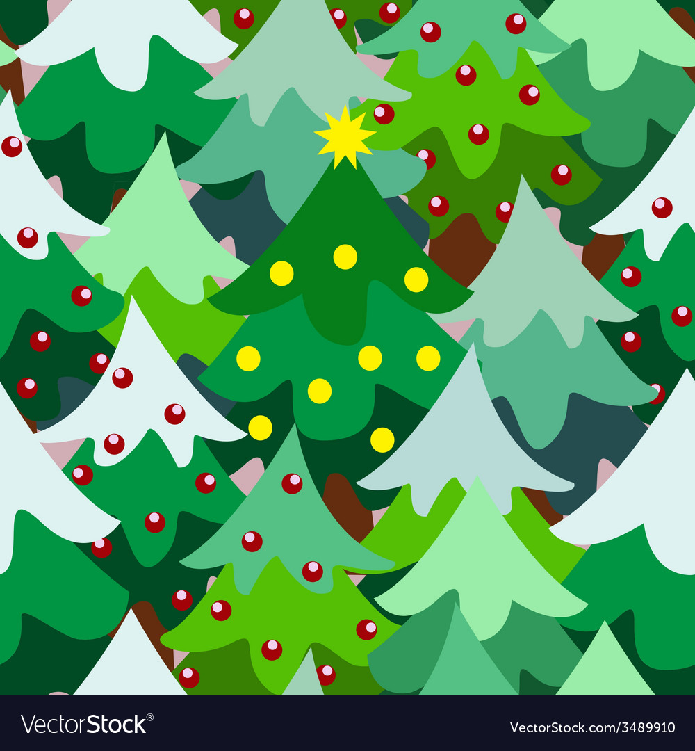 Christmas theme pine tree forest close seamless vector | Price: 1 Credit (USD $1)