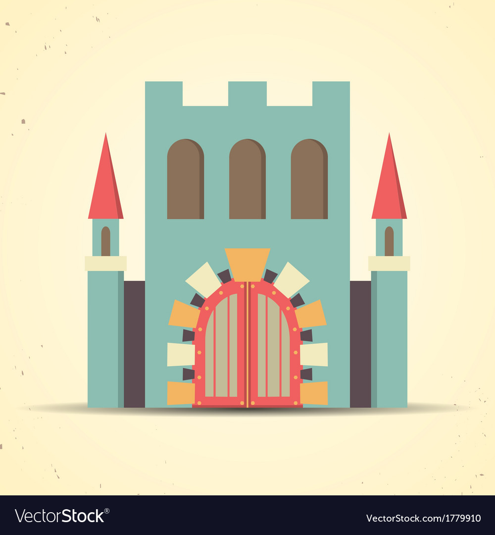 Color flat castle icon for web and mobile vector | Price: 1 Credit (USD $1)