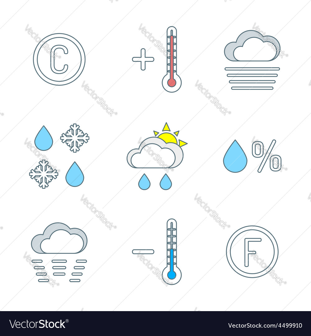 Colored outline weather forecast icons set vector | Price: 1 Credit (USD $1)