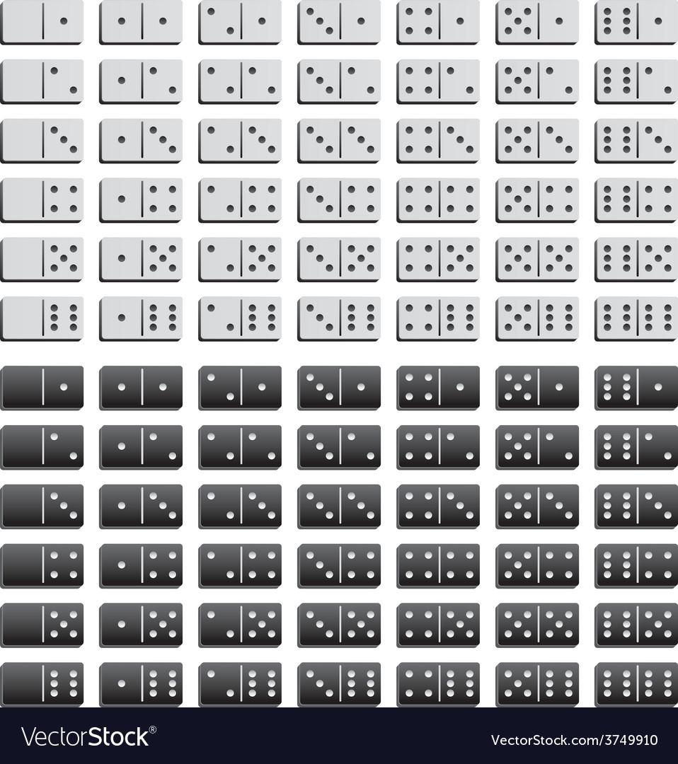 Domino black and white set vector | Price: 1 Credit (USD $1)