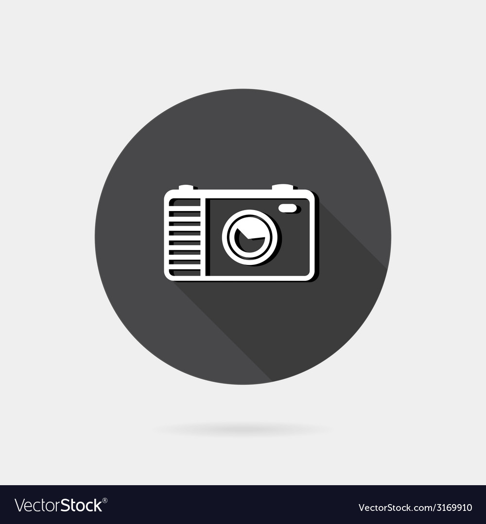 Flat icon photo or camera icon with long shadow vector | Price: 1 Credit (USD $1)