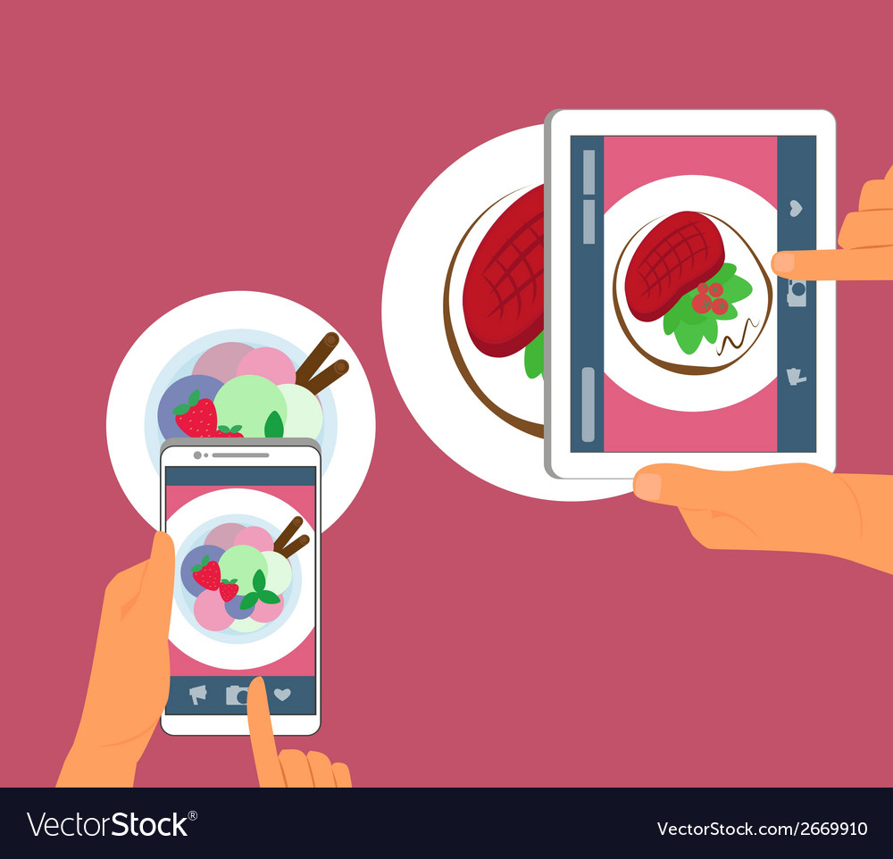 Man and woman are photographing their food in vector | Price: 1 Credit (USD $1)