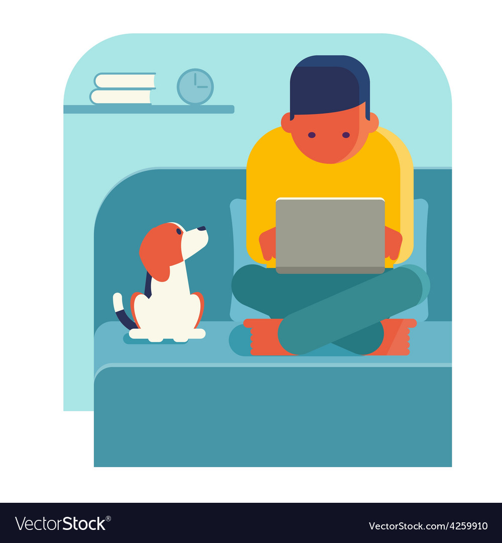 Man working on laptop at home vector | Price: 1 Credit (USD $1)