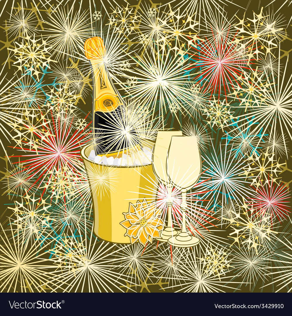 New year colorful fireworks and champagne vector | Price: 1 Credit (USD $1)