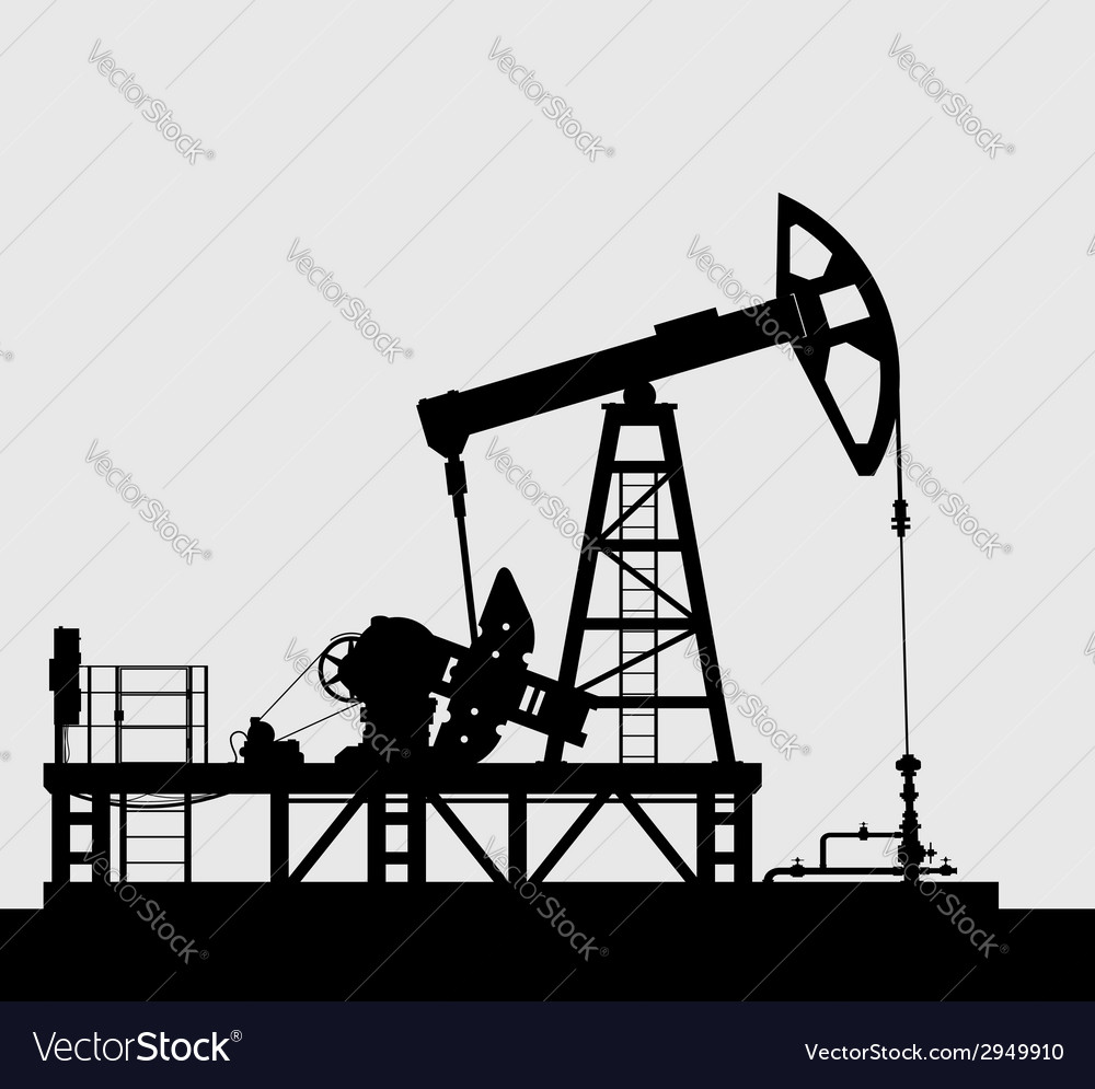 Oil pump silhouette over grey background vector | Price: 1 Credit (USD $1)