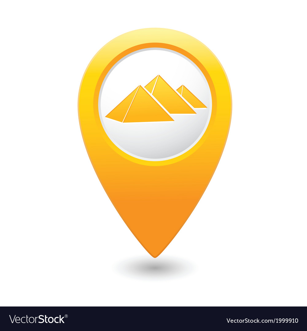 Pyramid icon on map pointer yellow vector | Price: 1 Credit (USD $1)