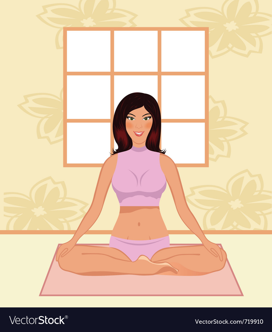 Young woman yoga in gym - vector | Price: 1 Credit (USD $1)