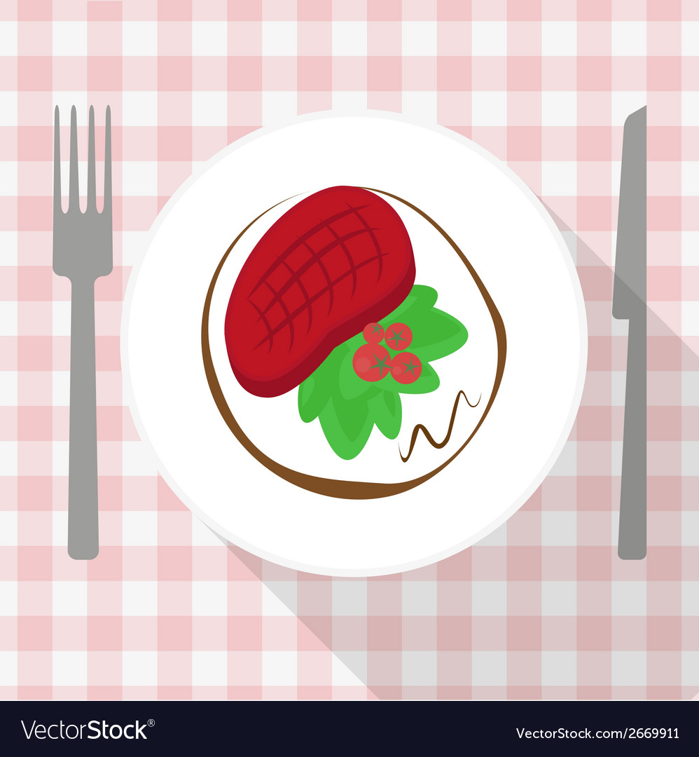 Beef steak with calad and tomato on white plate vector | Price: 1 Credit (USD $1)