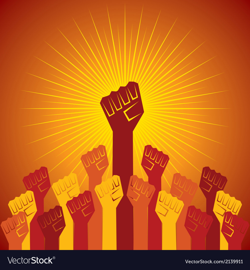 Clenched fist held in protest concept vector | Price: 1 Credit (USD $1)